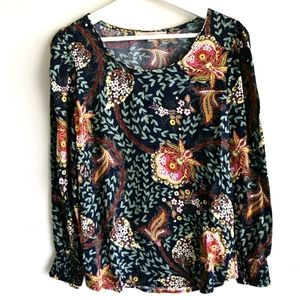 Loft long sleeve pullover top floral boho style